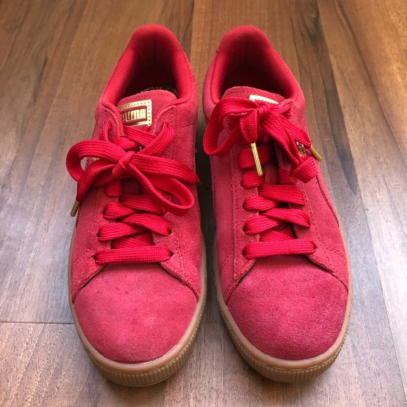 Puma Shoes   Red Gold Classic Suede